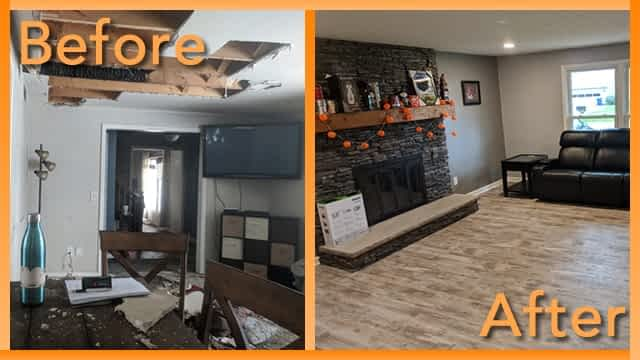 Struck and Sons Before and After, the living room of the Hall home