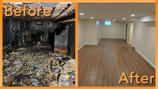 Struck and Sons Before and After, the basement of the Kusmiy home