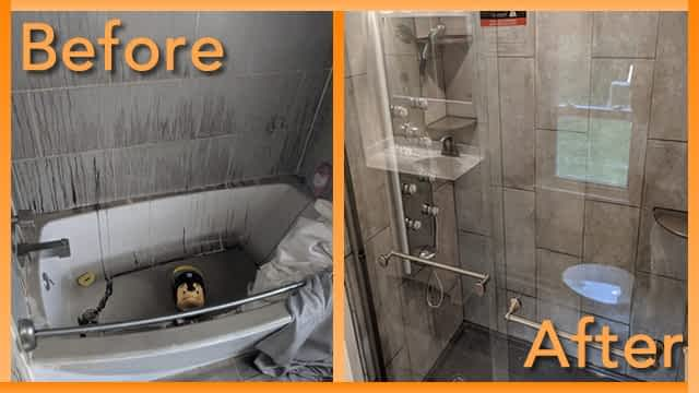 Struck and Sons Before and After, bath of Hall home