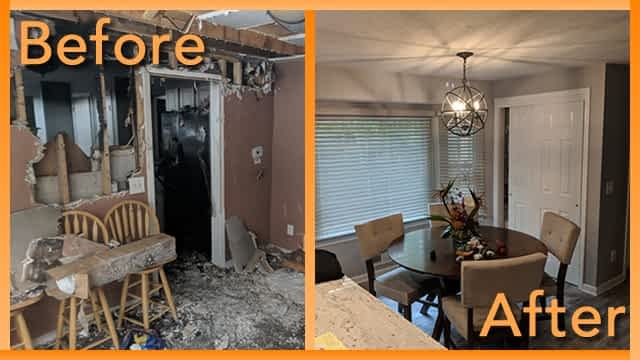 Struck and Sons Before and After, the dining area of the Hall home