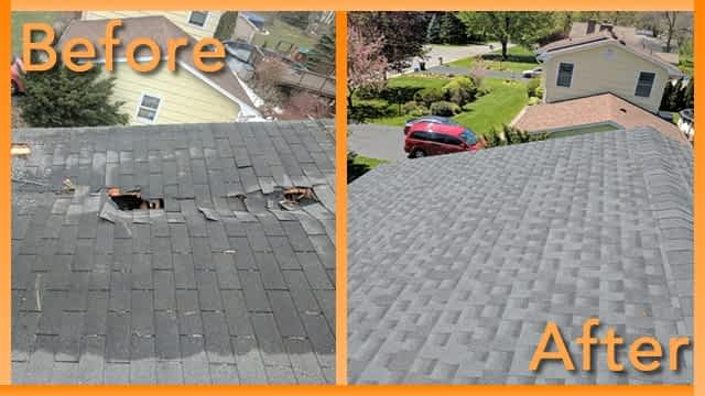 Struck and Sons Before and After, the roof of Shuttelworth home