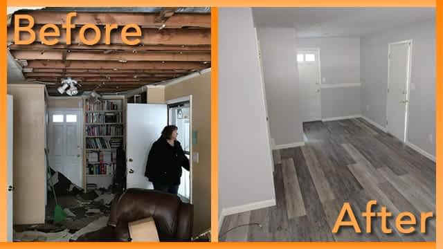 Struck and Sons Before and After, the living room of the Ireland home