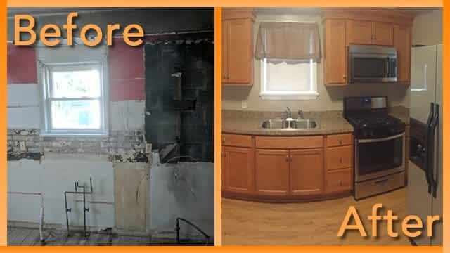 Struck and Sons Before and After, the kitchen of the DeCarlos property
