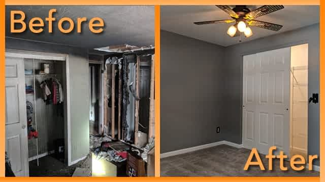 Struck and Sons Before and After, the bedroom of the Hall home