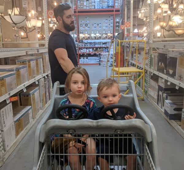 Ben and Kids shopping for a client of Struck and Sons