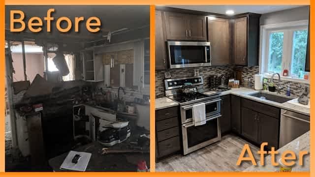 Struck and Sons Before and After, the kitchen of the Hall home